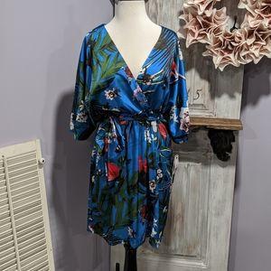 Nicole Miller blue floral belted dress